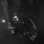 Dive Team member Jaia exploring wreck in Brockville, Ontario